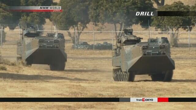 """美日进行""""离岛防御""""演练 自卫队展示两栖战车"""