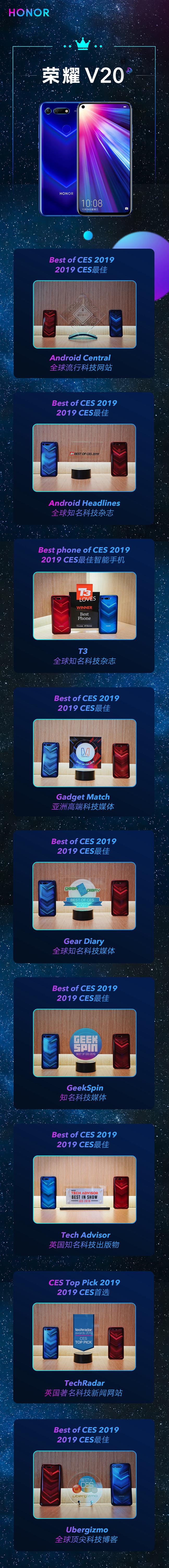 CES多项殊荣加身,荣耀V20给2019年旗舰开了个好头
