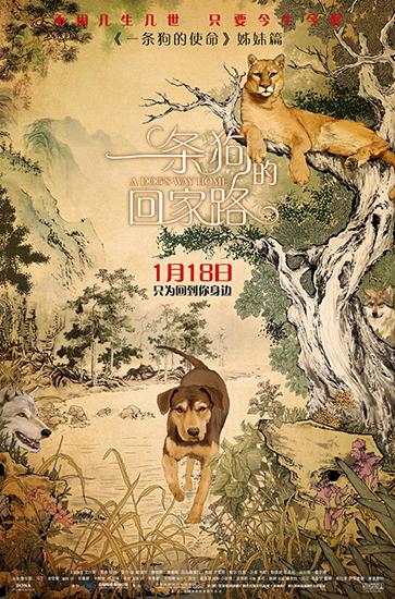 《一条狗的回家路》曝中国风海报 首映获好评