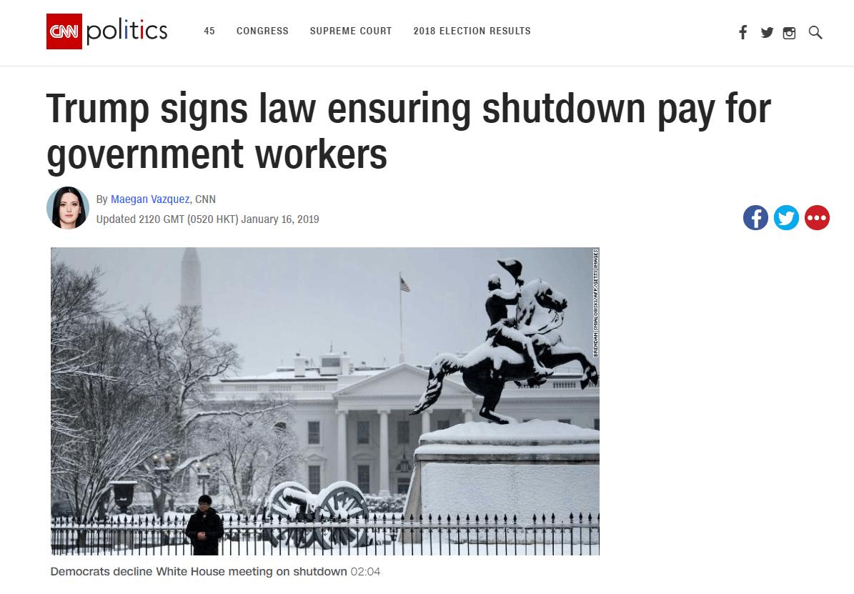 有钱了!特朗普签署法案保证给联邦员工补发工资!