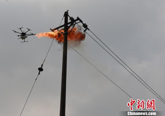 电力工人自制无人机喷火清障装置消灭马蜂窝
