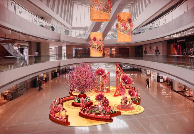 """香港ifc商场呈献""""丰盛花开福满庭""""风车花园"""