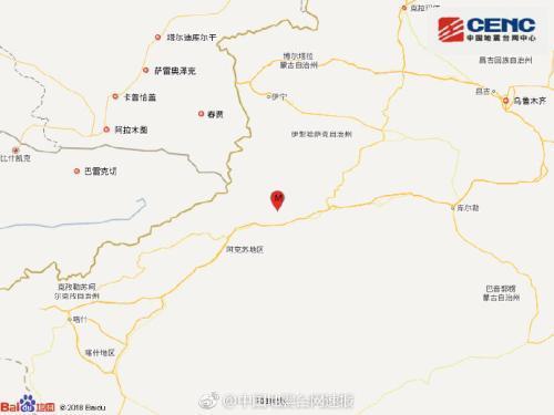 新疆阿克苏地区拜城县发生4.3级地震 震源深度6千米