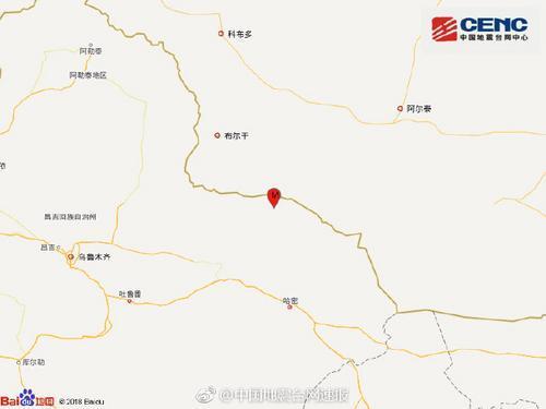 新疆哈密市巴里坤县发生4.5级地震 震源深度7千米