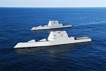 美军两艘DDG1000同框测试 非常科幻
