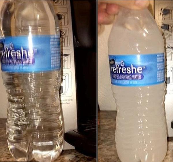 神奇!阿拉斯加零下22度瓶装水竟没结冰