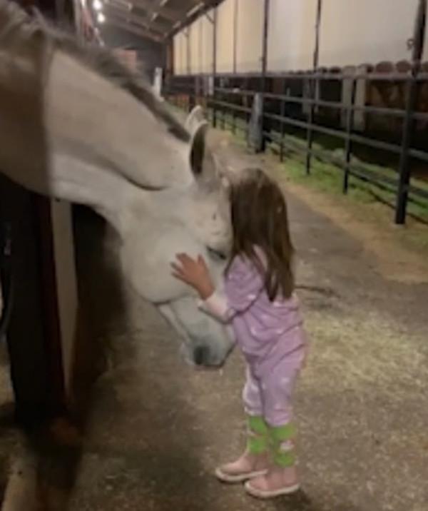美萌娃与马亲密互动 母亲拍下有爱瞬间