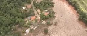 巴西矿坝决堤致40人遇难 建筑物被淹没