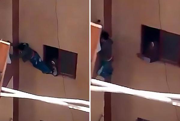 惊险!埃及少年忘带家门钥匙被母亲强迫爬三楼阳台