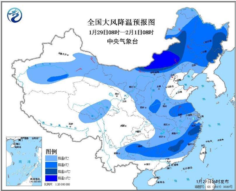 强冷空气将影响中东部大部地区 部分地区降温6~8℃