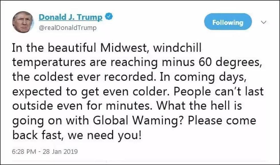美国遭遇极寒天气,特朗普调侃想要全球变暖回来
