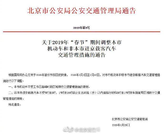 春节期间高峰时段北京不限行 外埠车辆可进五环