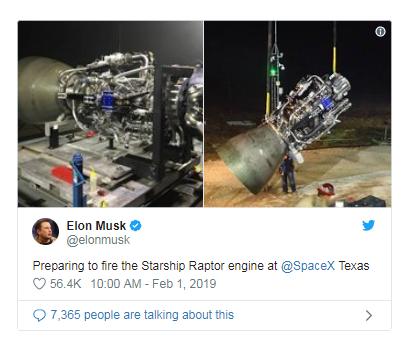 马斯克发推展示星际飞船巨型火箭的Raptor引擎