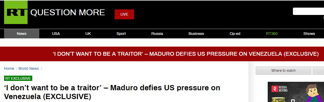 马杜罗接受俄媒专访:我不会屈服于美国,不想做一个叛徒