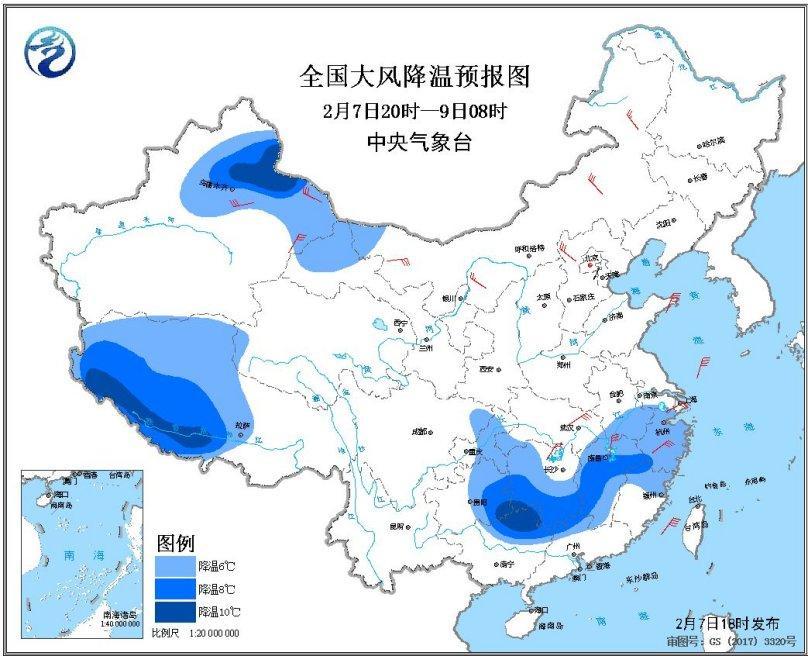 冷空气将影响江南等地西藏南部有较强降雪