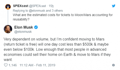 卖掉房子移居火星?马斯克:成本或低于10万美元