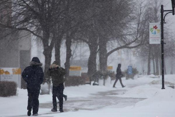 多伦多遭遇雪暴天气 气象部门发出极寒天气警告