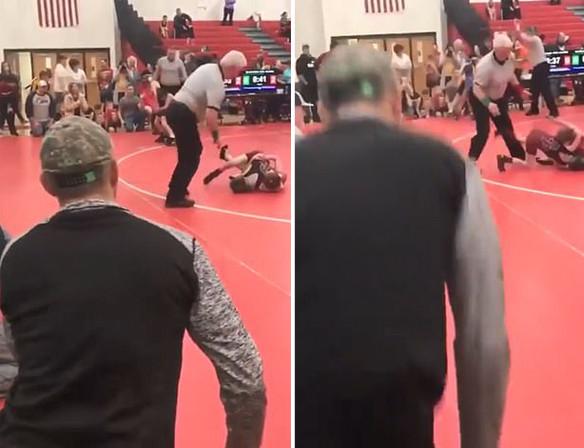 闹剧:美国儿童摔跤比赛上演家长大混战