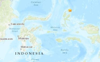 印尼北部海域发生4.9级地震 震源深度45.3千米