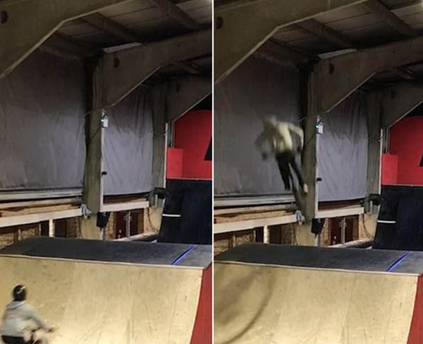 BMX车手挑战后空翻失败 脸部着地坠落而安然无恙