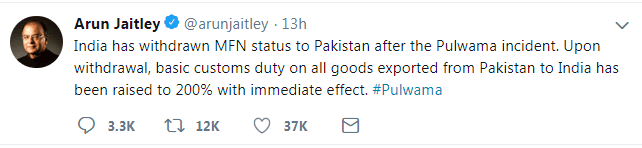 印财长:将从巴基斯坦进口所有货物关税提高至200%,立即生效