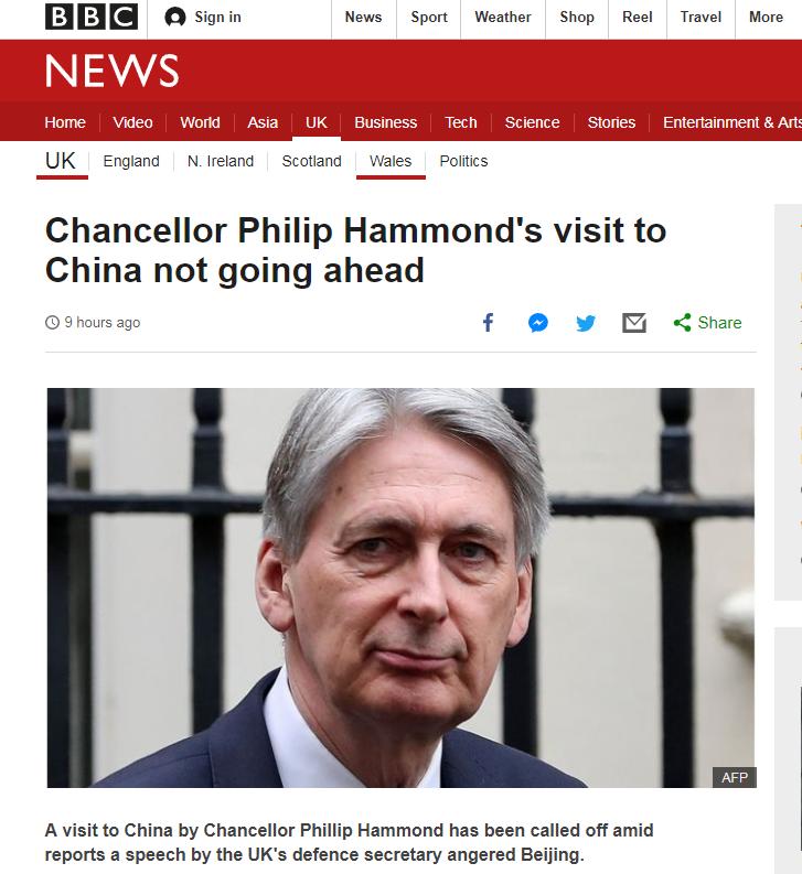 英媒:英财政大臣访华行程被取消,可能是因防相不当言论