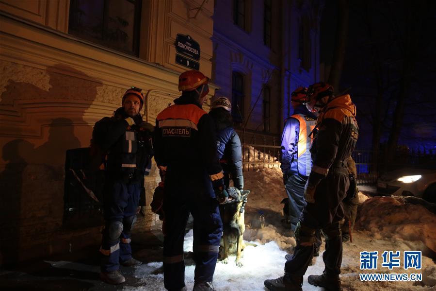俄罗斯圣彼得堡一建筑发生部分垮塌
