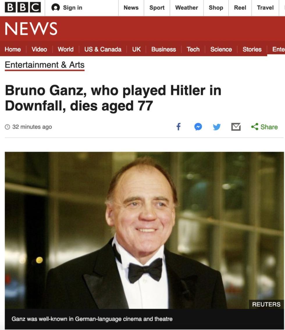 《帝国的毁灭》元首扮演者布鲁诺去世 享年77岁