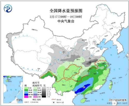 将来两天华南有强降雨进程 南方大部地域或迎降雪