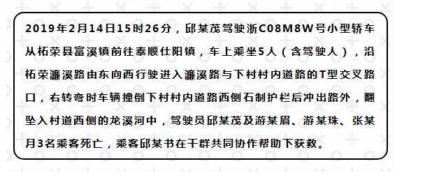 """柘荣城郊""""2.14""""交通事故初步调查情况"""