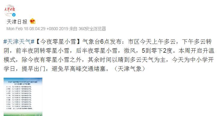 天津今夜零星小雪 本周开启升温模式