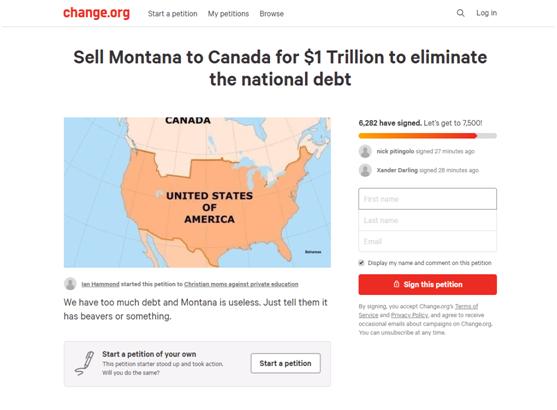 22万亿国债怎么还?约6300美国人请愿,一万亿先把蒙大拿卖给加拿大