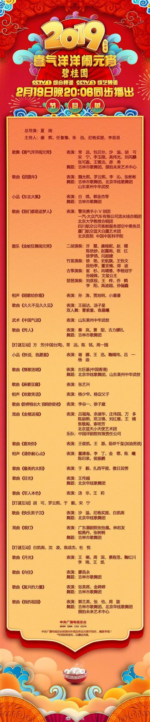 2019央视元宵晚会节目单公布:沙溢两次登台