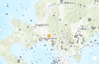 日本北海道地区发生5.5级地震 震源深度41.2千米