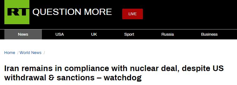 国际原子能机构:尽管美退出伊核协议,伊朗仍在遵守