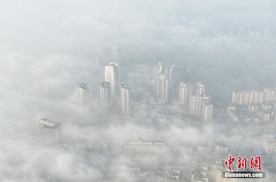 大雾袭南京 城市如入仙境