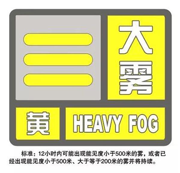 上海刚刚发布大雾黄色预警,能见度小于500米