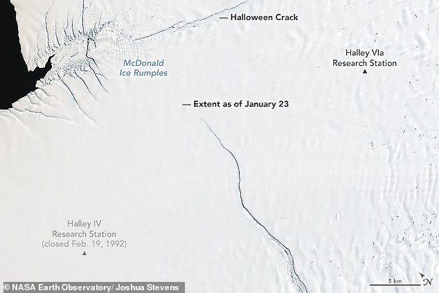 南极洲冰架裂隙延伸 或即将分离产生巨型冰川