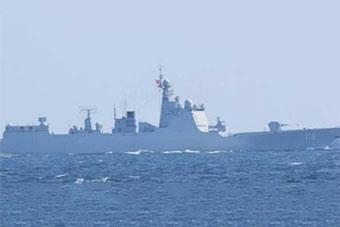 日称052D导弹驱逐舰领衔3军舰穿越对马海峡
