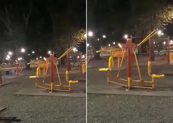 阿根廷公园内运动器械自行摆动 怪异现象吓跑路人