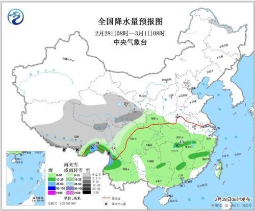 南方地区持续阴雨 西藏和西北地区中东部有较强降雪