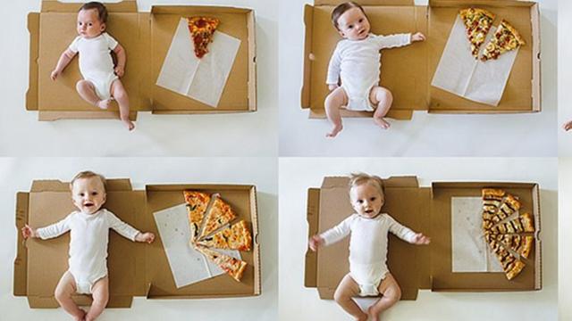 吃货之家!美摄影师妈妈用披萨摆拍记录儿子成长