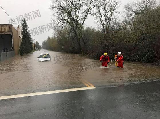 美国北加州洪水灾害 导致数千人撤离