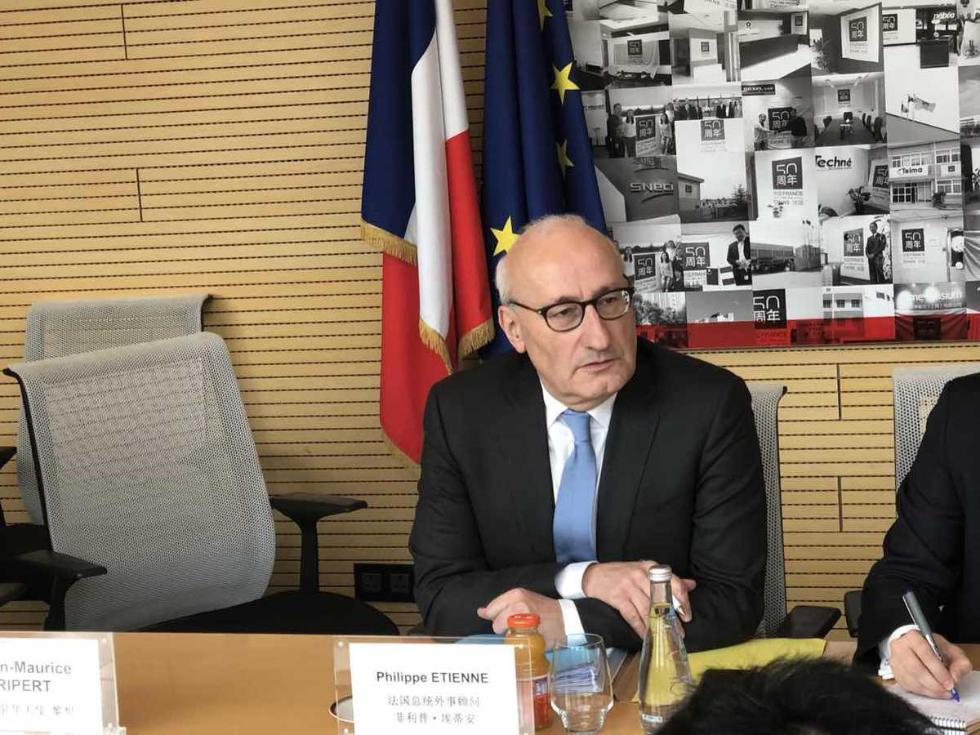 """法国总统外事顾问:愿就""""一带一路""""与中国合作 乐见外商投资法出台"""