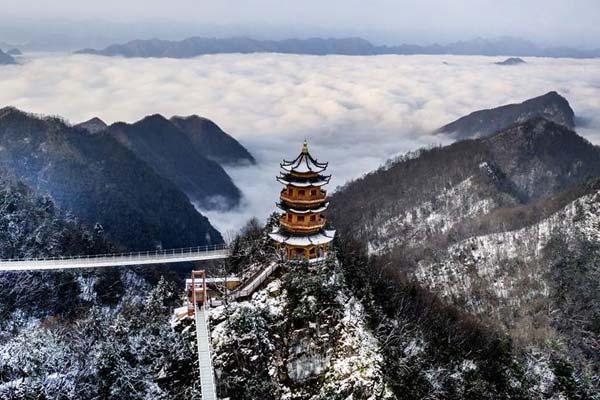 雪霁塔云仙境