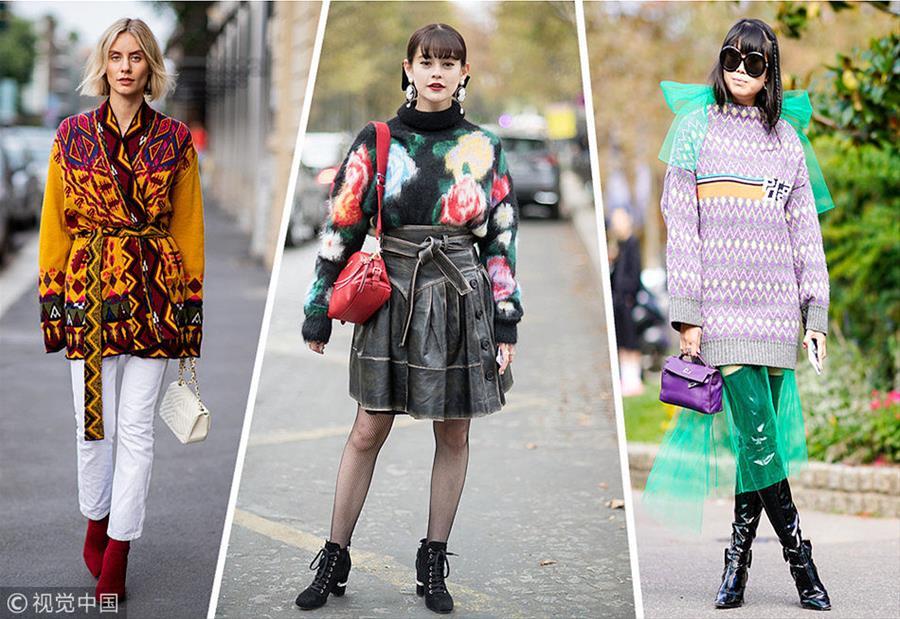 印花毛衣开春C位单品 面对温差也能美美的