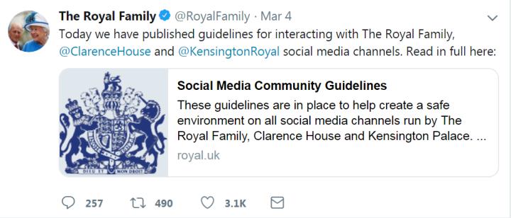"""英王室发布""""社交媒体行动指南"""" 评论内容不得涉及种族侮辱"""