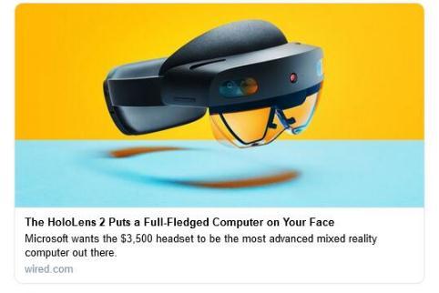 "HoloLens 3预计4年后发布 将配""无限视野"""