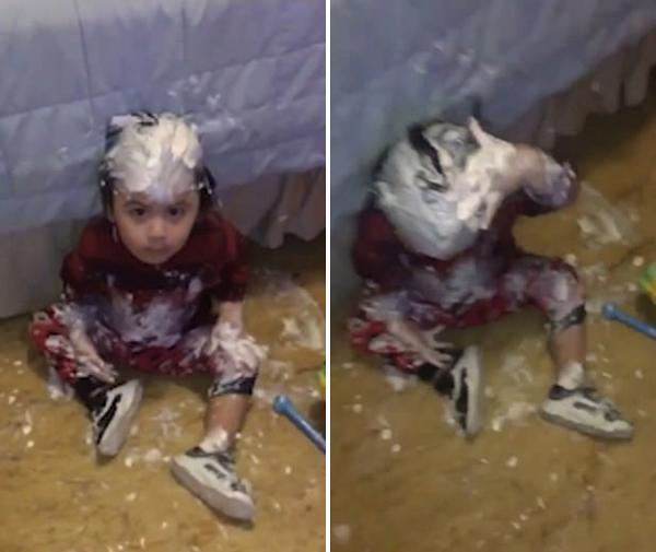 淘气至极!美2岁男童趁妈妈不在玩面霜涂全身