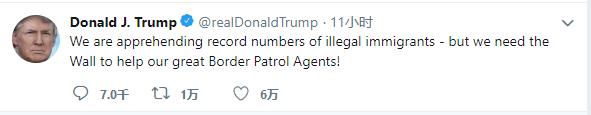 特朗普称美国拘留非法移民数量创纪录 但仍需要边境墙